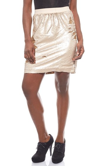 vivance collection short ladies skirt with sequins gold