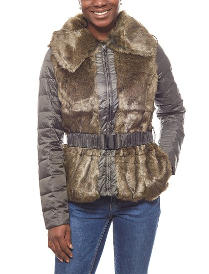 Laura Scott leichte Damen-Jacke Steppjacke mit Fake Fur Khaki