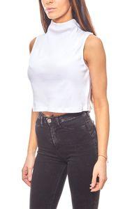 NA-KD cooles Damen Crop Top mit Stehkragen Rollkragen Weiß – Bild 1