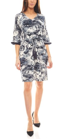 B.C. Best Connections modisches Batik-Look Damen Kleid mit Fransen Blau