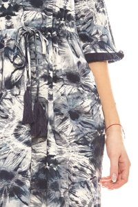 B.C. Best Connections modisches Batik-Look Damen Kleid mit Fransen Blau – Bild 3