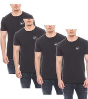 Harvey Miller Polo Club schlichte Basic Herren T-Shirts im 4er Pack Schwarz