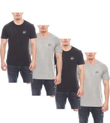 4er Pack Harvey Miller Polo Club klassische Basic Herren T-Shirts Schwarz/Grau