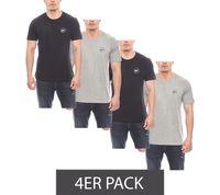 4er Pack Harvey Miller Polo Club klassische Basic Herren T-Shirts Schwarz/Grau