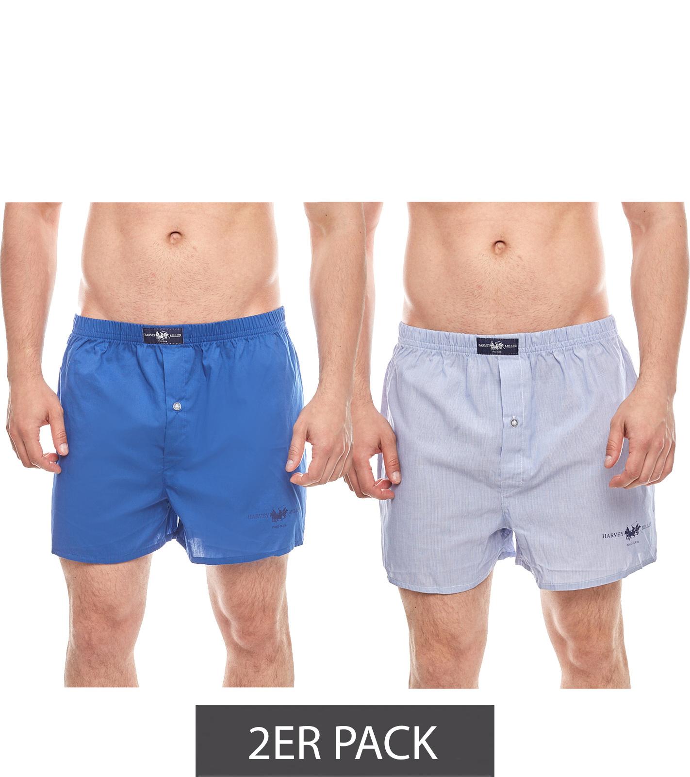 abholen detaillierte Bilder Großbritannien 2er Pack HARVEY MILLER POLO CLUB Herren Web-Boxershorts Unterwäsche Blau