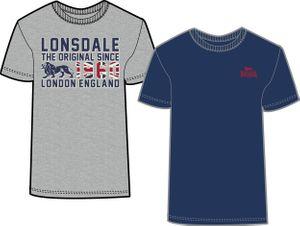 Lonsdale 2er Pack T-Shirt Herren Marl-Grau-Navy