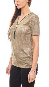 melrose stylisches Damen T-Shirt mit V-Ausschnitt Gold – Bild 2