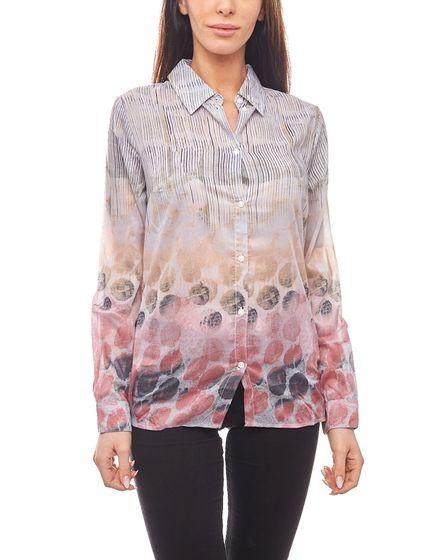 CORLEY Bluse moderne Damen Schlupfbluse mit Allovermuster Bunt