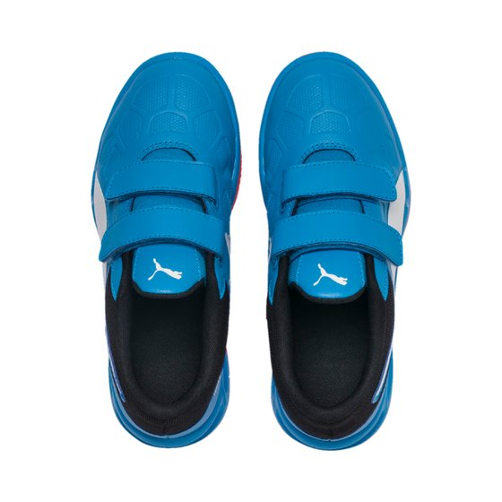 PUMA Tenaz V Jr Kinder Low Boot Sneaker Hallenschuhe Azurblau Weiss Schwarz Rot