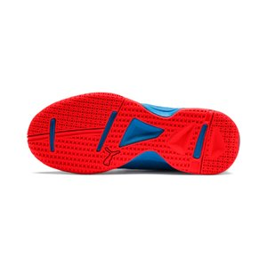 PUMA Tenaz V Jr Kinder Low Boot Sneaker Hallenschuhe Azurblau-Weiss-Schwarz-Rot Schuhe – Bild 3