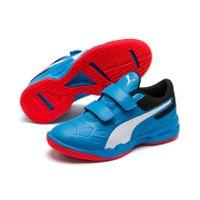 PUMA Tenaz V Jr Kinder Low Boot Sneaker Hallenschuhe Azurblau-Weiss-Schwarz-Rot Schuhe 001