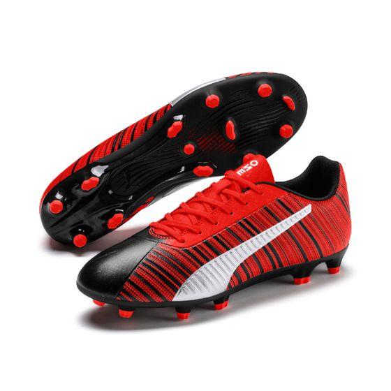 PUMA ONE 5.4 FG/AG Herren Low Boot Fußballschuhe Schwarz-Rot-Silber Schuhe