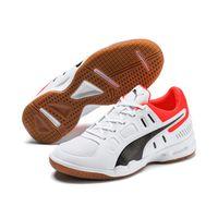 PUMA Auriz Jr Kinder Low Boot Sneaker Hallenschuhe Weiss-Schwarz-Rot Schuhe 001