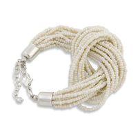 PEARLS FOR GIRLS Armschmuck 12-lagiges Damen Armband mit Knoten Weiß