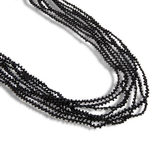 PEARLS FOR GIRLS Necklace 8-ply Ladies Necklace in Black Pearls