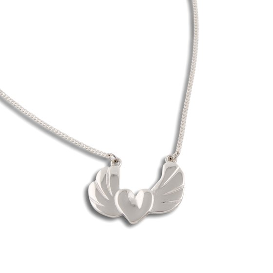 PEARLS FOR GIRLS Jewelry Playful Ladies Necklace with Wing Heart Pendant Silver