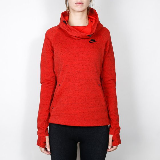 Nike Wmns Tech Fleece Hoodie - Light Crimson / Heather / Black Hoody