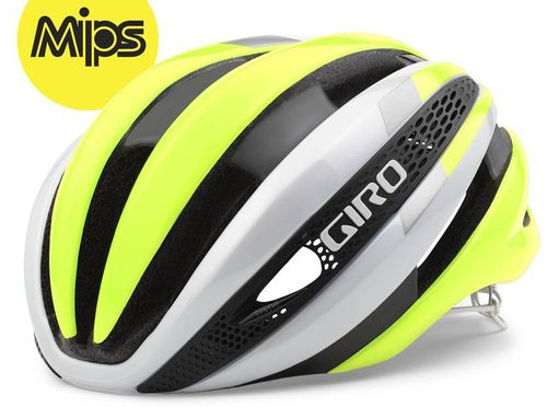 Giro Synthe MIPS Rennradhelm - white/highlight yellow