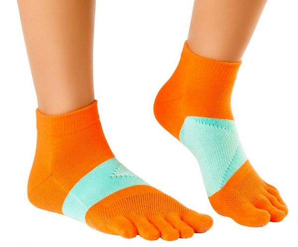 KNITIDO MTS ultralite dünne Zehen-Laufsocken mit Coolmax orange-mint