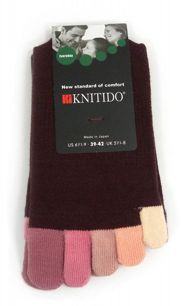 KNITIDO Rainbow Moods Zehensocken wadenlang | Red Red Wine