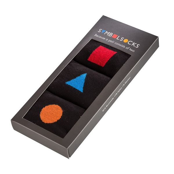 SYMBOLsocks Businesssocken Premium#1 3er | rot, orange, blau