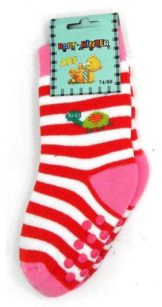Baby ABS Socken | Schildkröte rot-weiss-gestreift