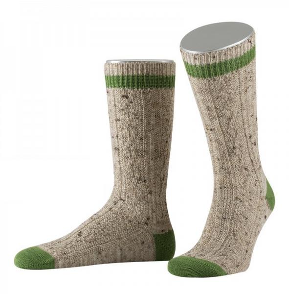 Lusana Schoppersocke Loden Tweed mit 2-farbigem Rand beigemeliert