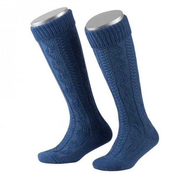 Lusana Kinder Kniebundstrumpf Schurwolle Zopfmuster blau