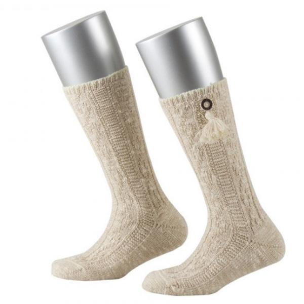 Lusana Kinder Socke mit Knopf Hirschhornoptik Quaste Leinen