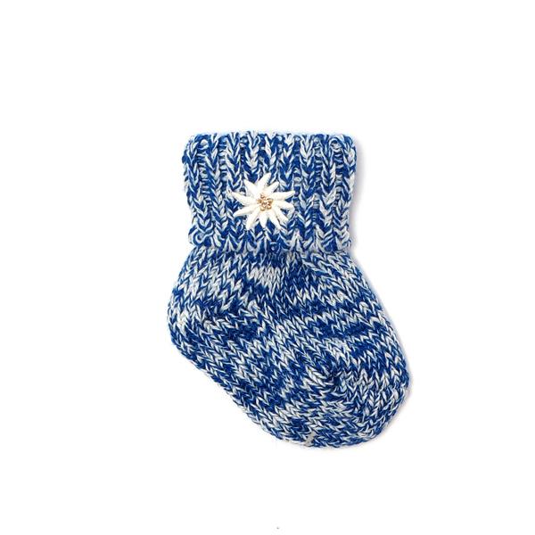 Alpen Socks Baby Trachtensocken mit Umschlag und Edelweiß gestickt mit Merinowolle blau meliert