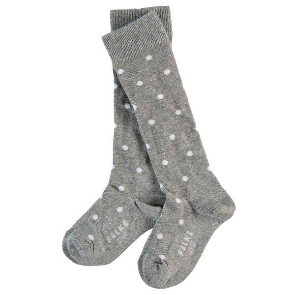 FALKE Dot Socken Mädchen-Kniestrümpfe grau mit weiße Punkten