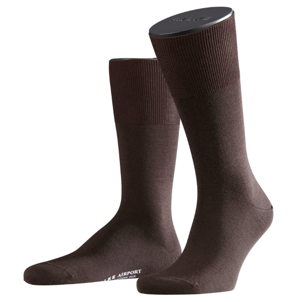 Falke Airport Herren Socken Farbe Merinowolle braun 1 oder 3 Paar