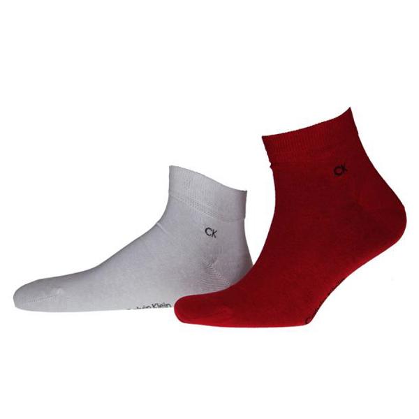 Calvin Klein Quarter-Socken rot/weiß, 6 Paar