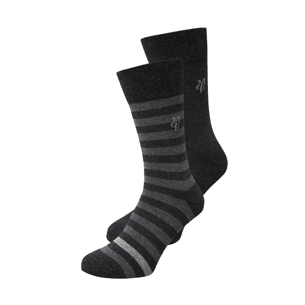 Marc O´Polo Swen Herrensocken 2 Paar uni/gestreift anthrazit