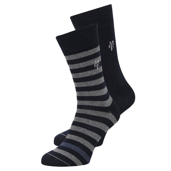 Marc O´Polo Swen Herrensocken 2 Paar uni/gestreift navy
