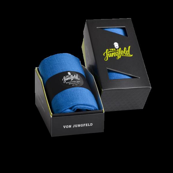 "von Jungfeld Businesssocke ""Bermuda Graphit"" 98% mercerisierte Baumwolle hellblau bis Gr. 50"
