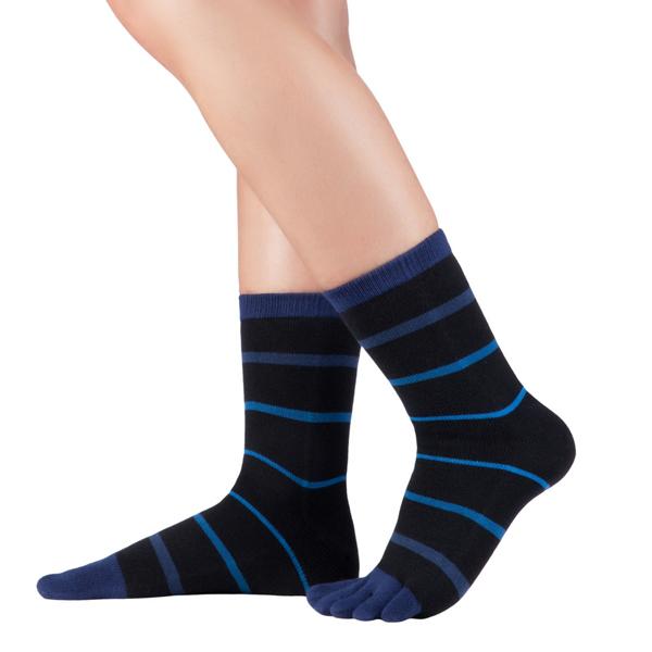 KNITIDO Streifen Zehensocken Stripes Midi mit 94% Baumwolle schwarz/blau