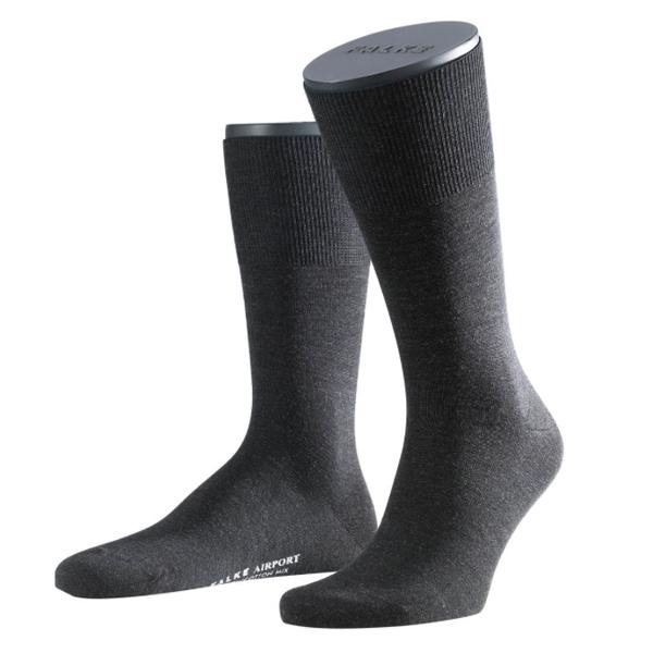 FALKE Airport Herren-Socke Merinowolle anthrazit 1 oder 3 Paar