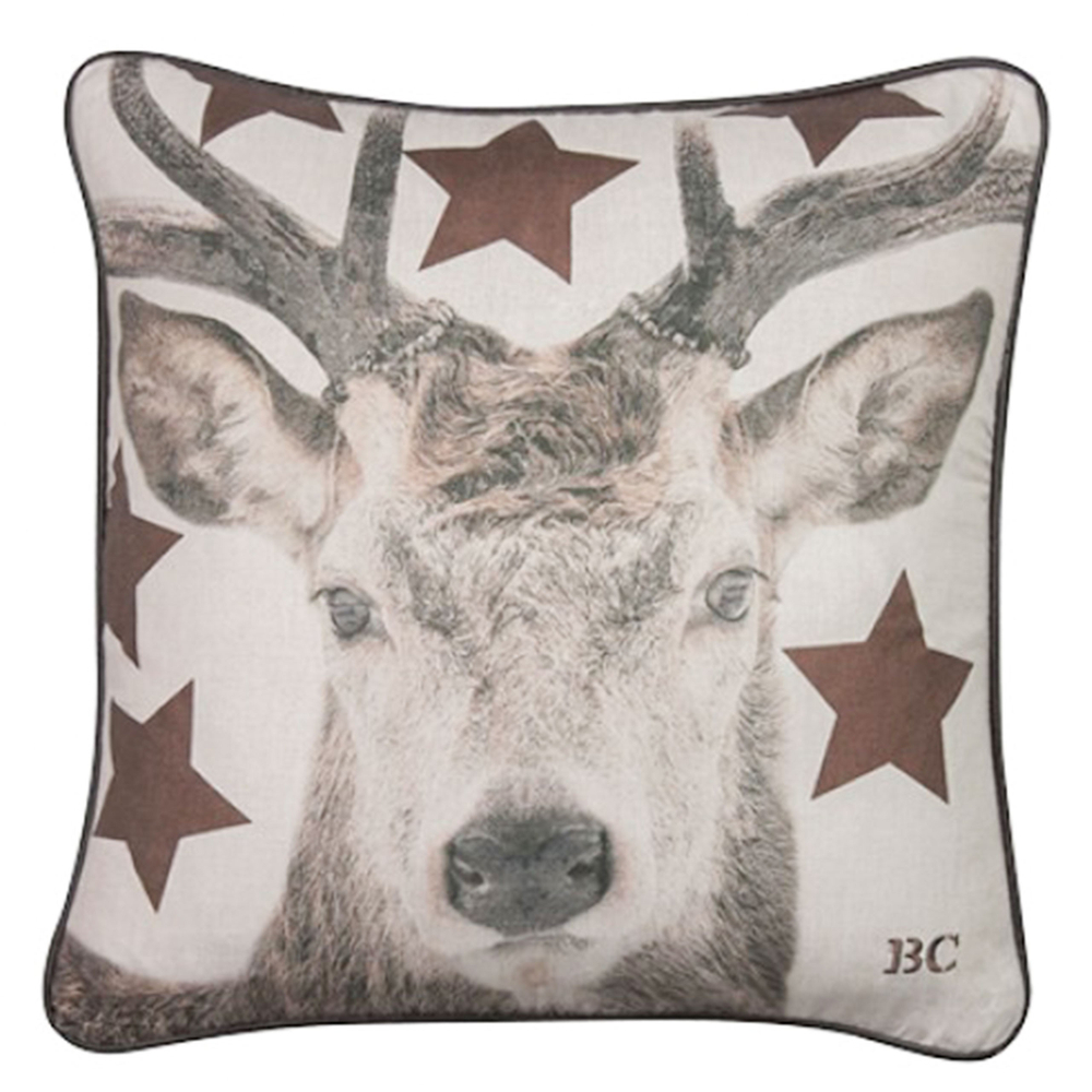 Bastion Collections · Zierkissen | Kissen ' Deer Copper Stars ' 50cm · creme kupfer grau