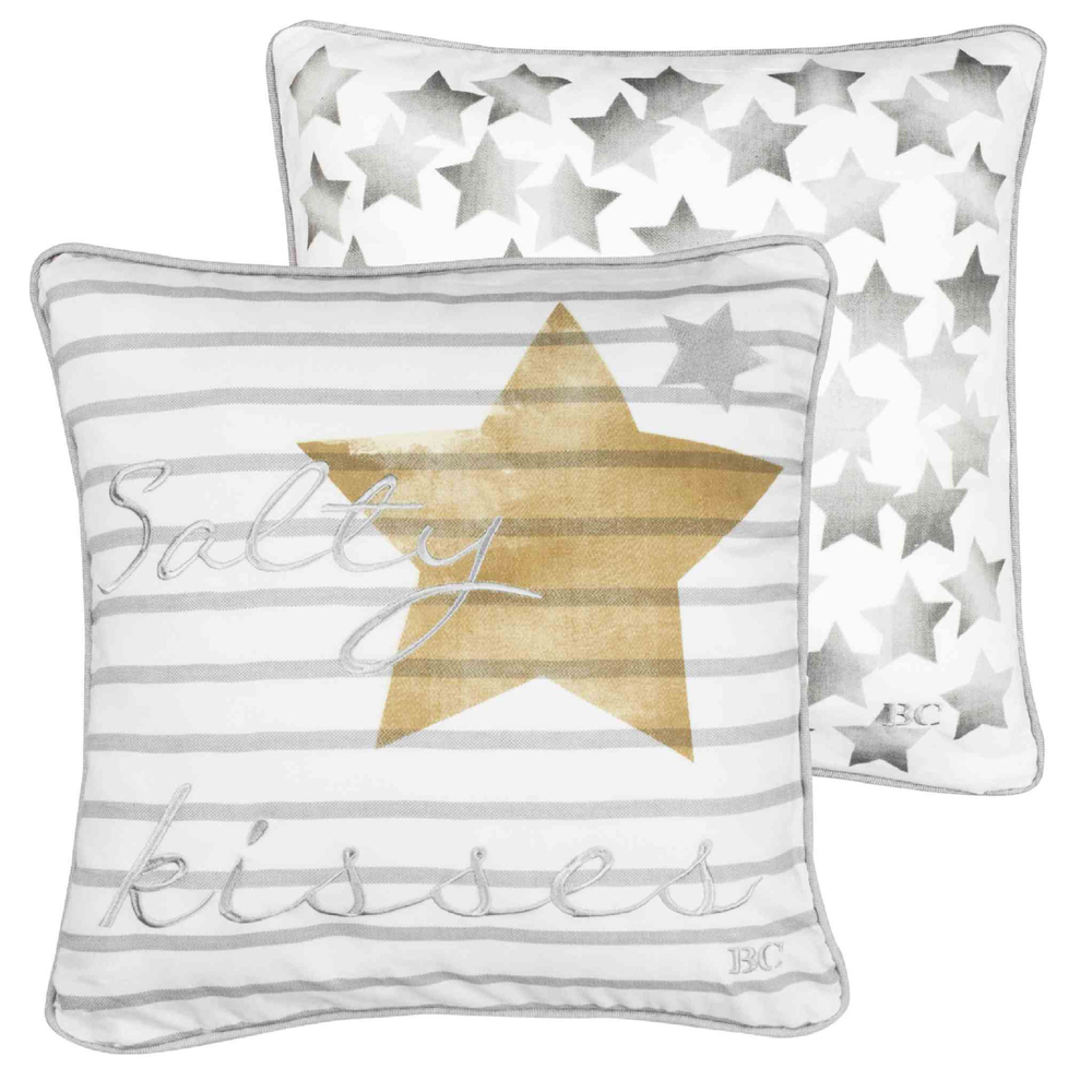 Bastion Collections · Zierkissen | Kissen ' Salty & Stars ' 50cm · weiß-grau-gold