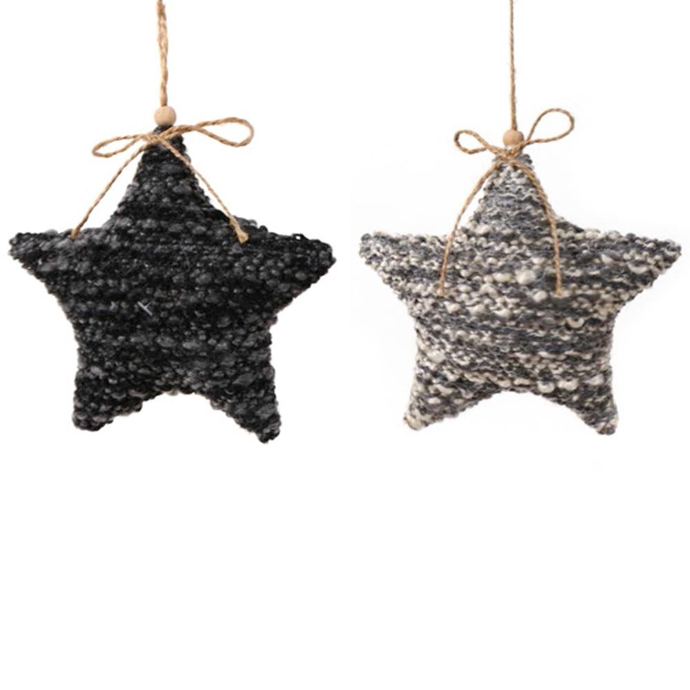 Long Island Living-LIL · Christbaum-Anhänger ' Star ' 15cm · schwarz grau 2er-Set