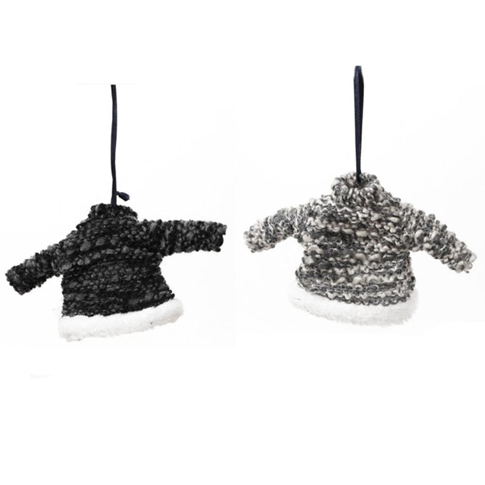 Long Island Living-LIL · Christbaum-Anhänger ' Fabric Sweater ' 15cm · schwarz grau 2er-Set