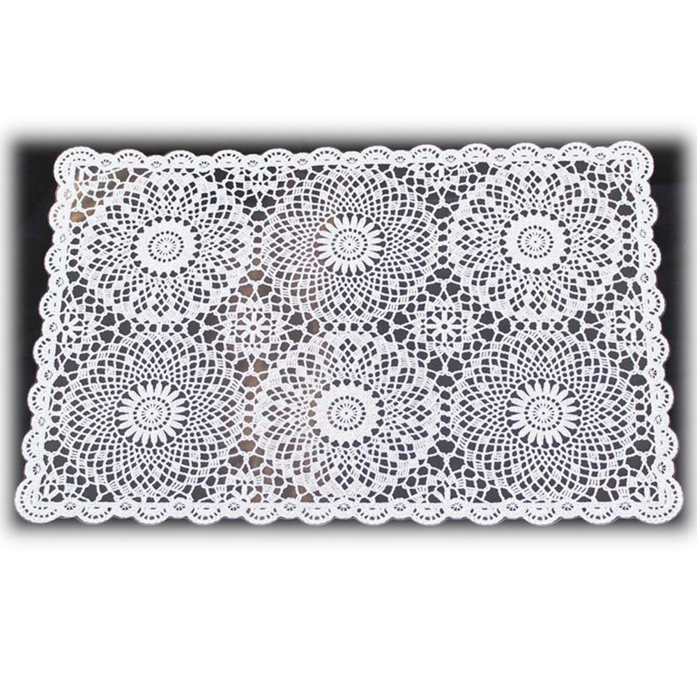 KERSTEN DIS-9160 Häkel-Platzset Platzdeckchen abwischbar wetterfest 'Crochet' · weiß transparent 4er-Set – Bild 3