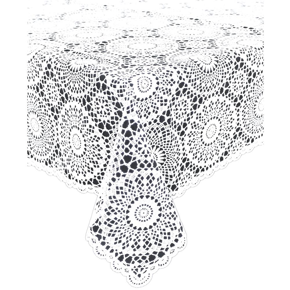 KERSTEN DIS-9163 Outdoor-Tischdecke abwischbar wetterfest 'Crochet' 150*264cm · weiß  – Bild 1