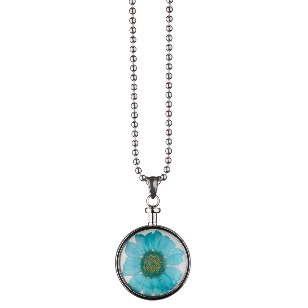 blumenkind · Damen-Halsketten-Anhänger Chrysantheme Edelstahl 3.4cm · stahl-silber blau BL01MSSBL – Bild 2
