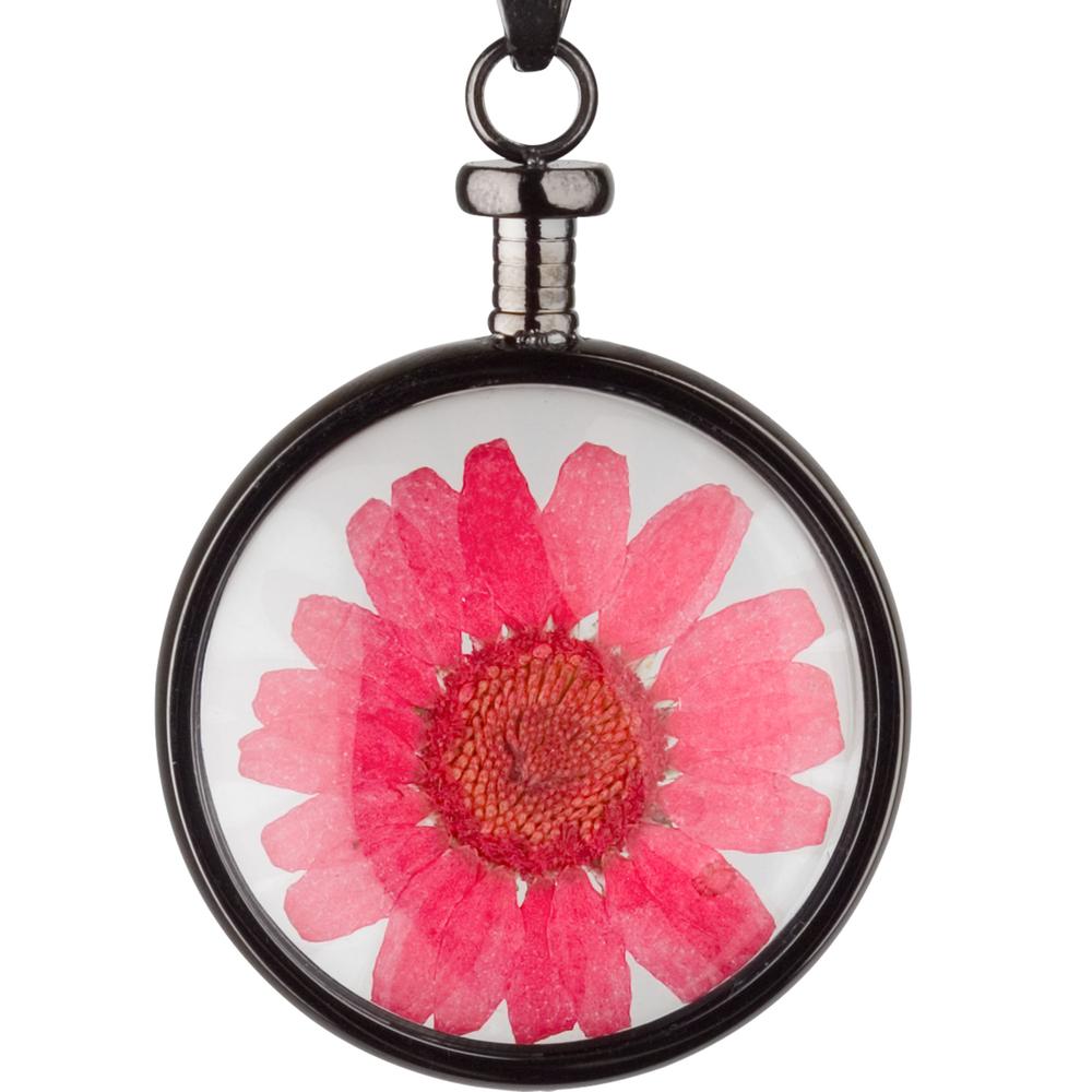 blumenkind · Damen-Halsketten-Anhänger Chrysantheme Edelstahl 3.4cm · anthrazit-grau rot BL01MGRRE – Bild 1