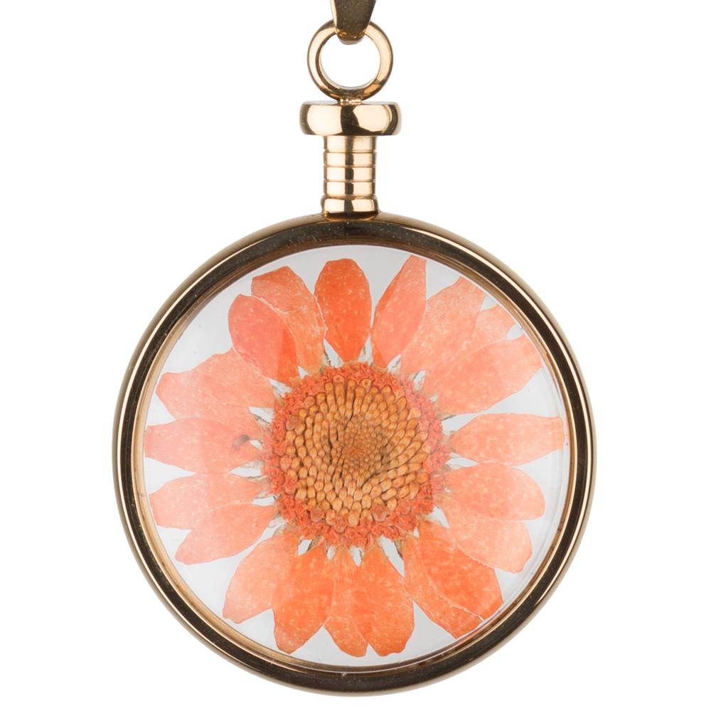 blumenkind · Damen-Halsketten-Anhänger Chrysantheme Edelstahl 3.4cm · gold orange BL01MGOOR – Bild 1