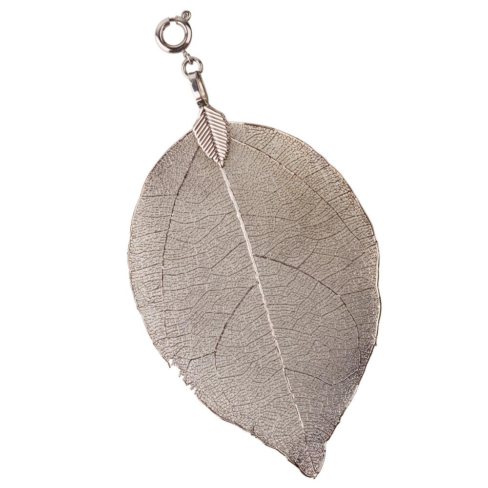 blumenkind · Damen-Halsketten-Anhänger Buddhabaum-Blatt Edelstahl Small 6cm · grau BL03SGR