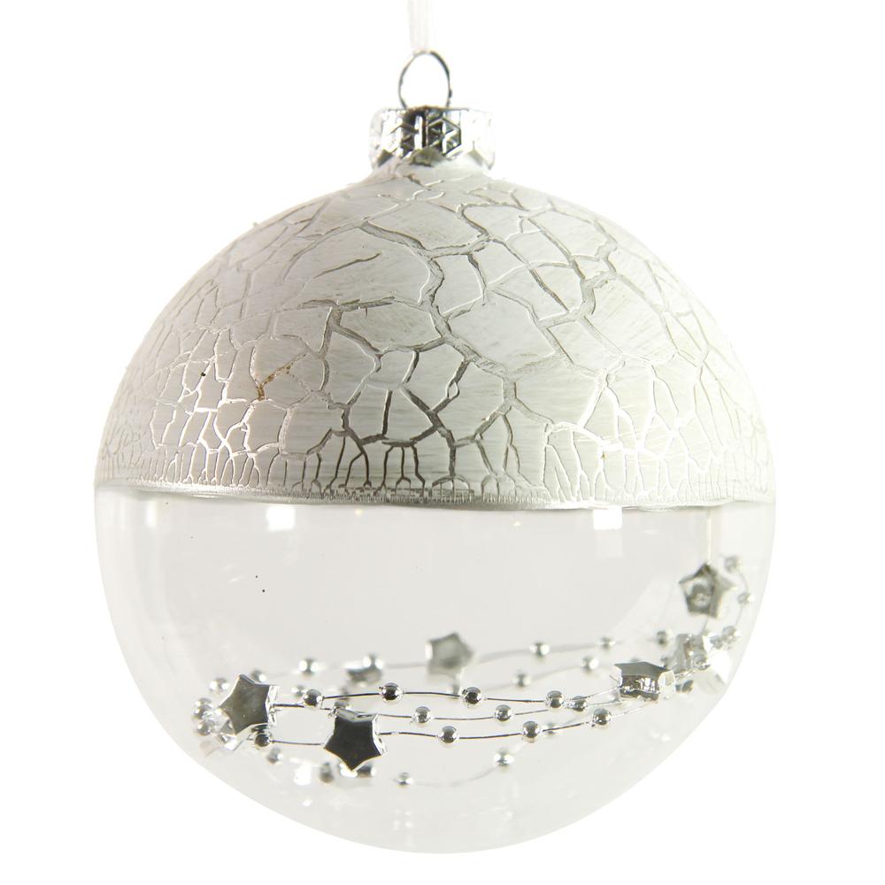 Countryfield · Christbaumkugel mit Sternenkette ' Deangelos L ' 10cm · weiß silber  – Bild 2