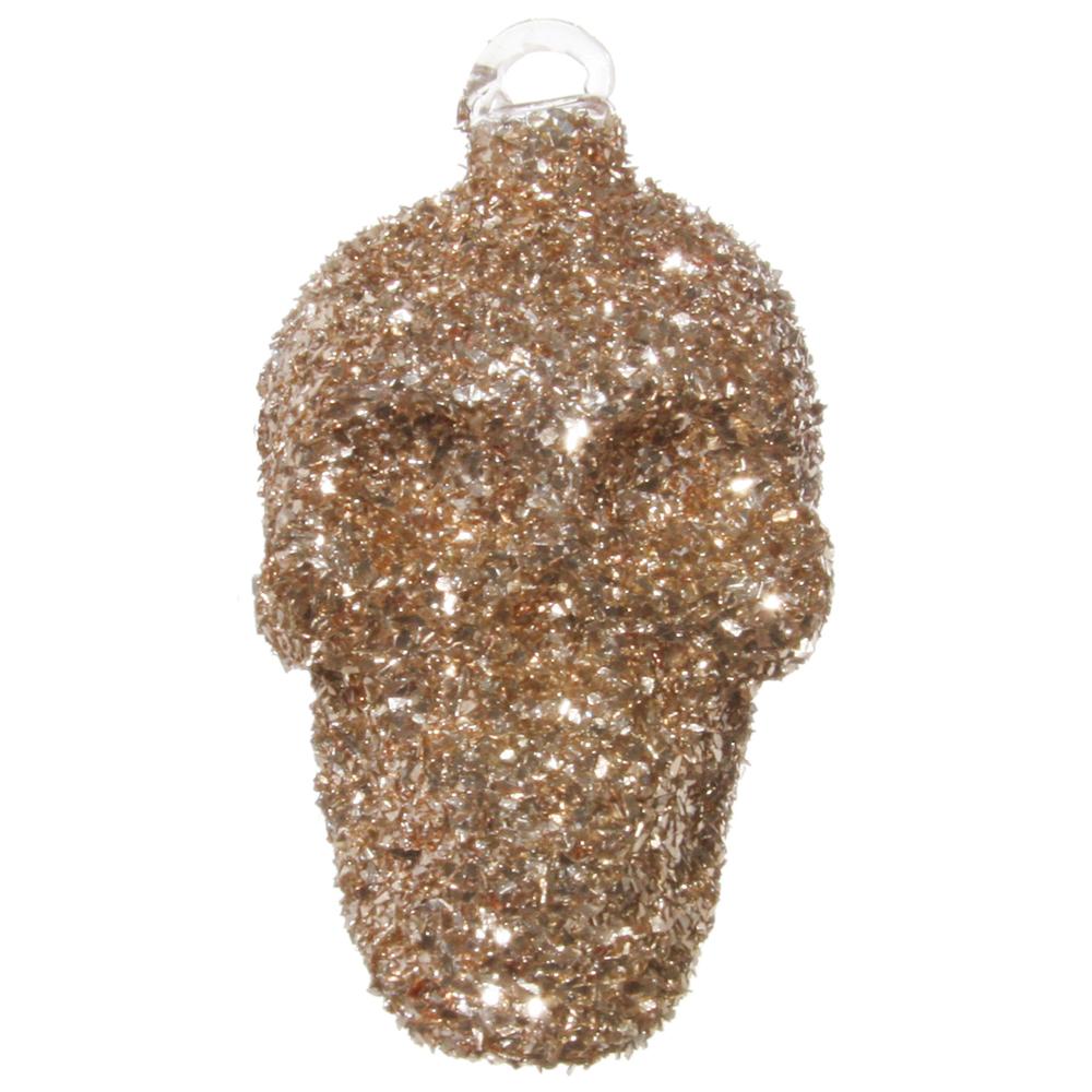 SHISHI · Christbaum-Anhänger ' Glitter-Schädel ' 9cm · silber-bronze